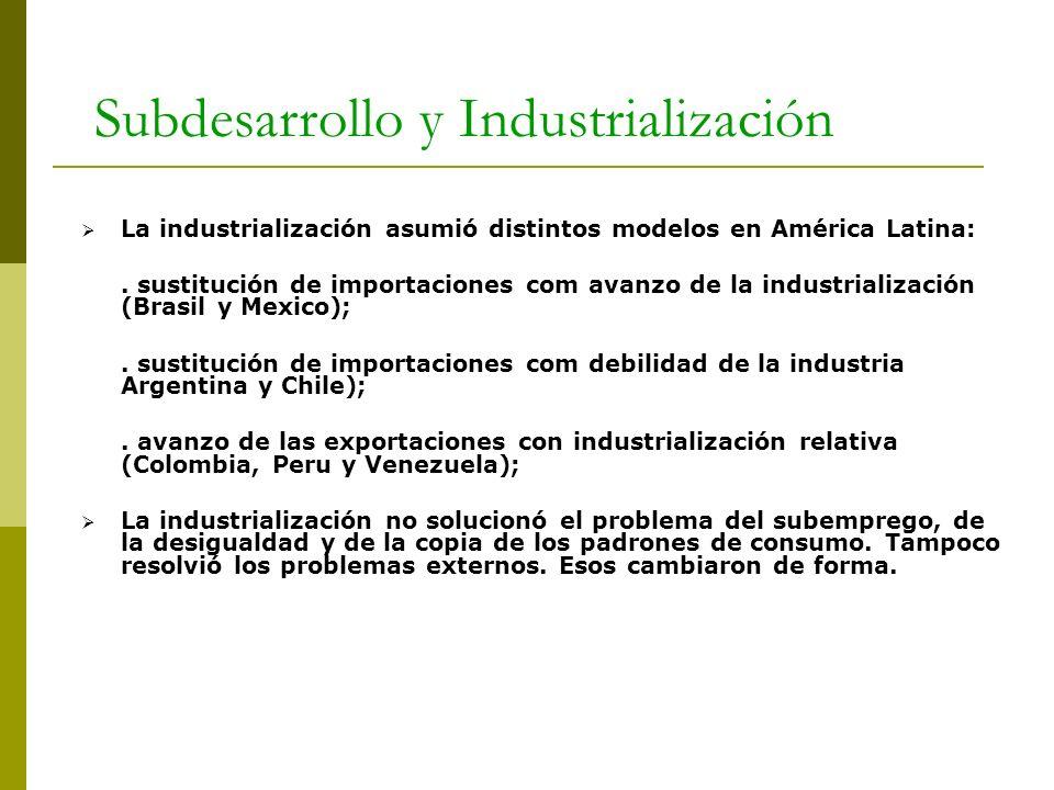 Subdesarrollo y Industrialización La industrialización asumió distintos modelos en América Latina:. sustitución de importaciones com avanzo de la indu