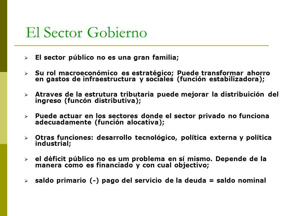 El Sector Gobierno El sector público no es una gran familia; Su rol macroeconómico es estratégico; Puede transformar ahorro en gastos de infraestructu