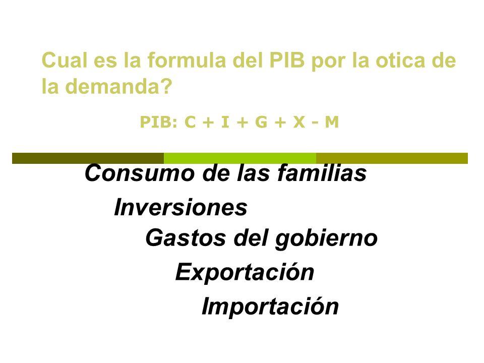 Cual es la formula del PIB por la otica de la demanda? Consumo de las familias Inversiones Gastos del gobierno Exportación Importación PIB: C + I + G