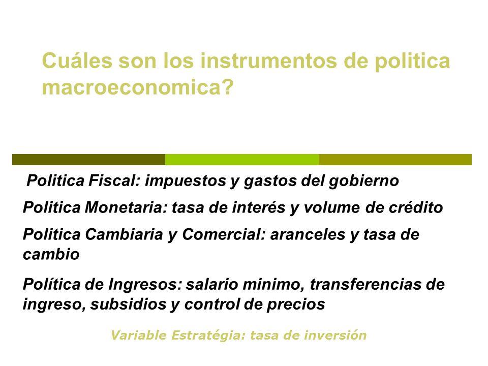 Cuáles son los instrumentos de politica macroeconomica? Politica Fiscal: impuestos y gastos del gobierno Politica Monetaria: tasa de interés y volume