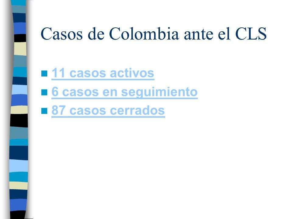 Casos de Colombia ante el CLS 11 casos activos 6 casos en seguimiento 87 casos cerrados