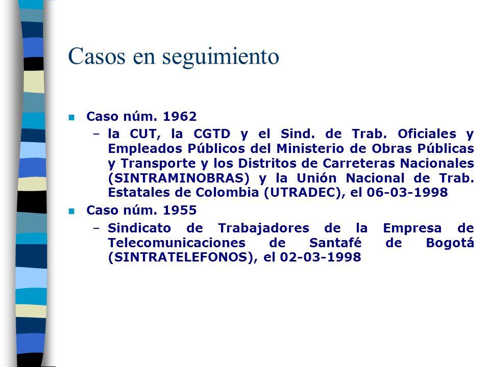 Casos en seguimiento Caso núm. 1962 –la CUT, la CGTD y el Sind.