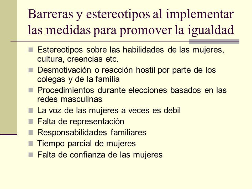 Barreras y estereotipos al implementar las medidas para promover la igualdad Estereotipos sobre las habilidades de las mujeres, cultura, creencias etc