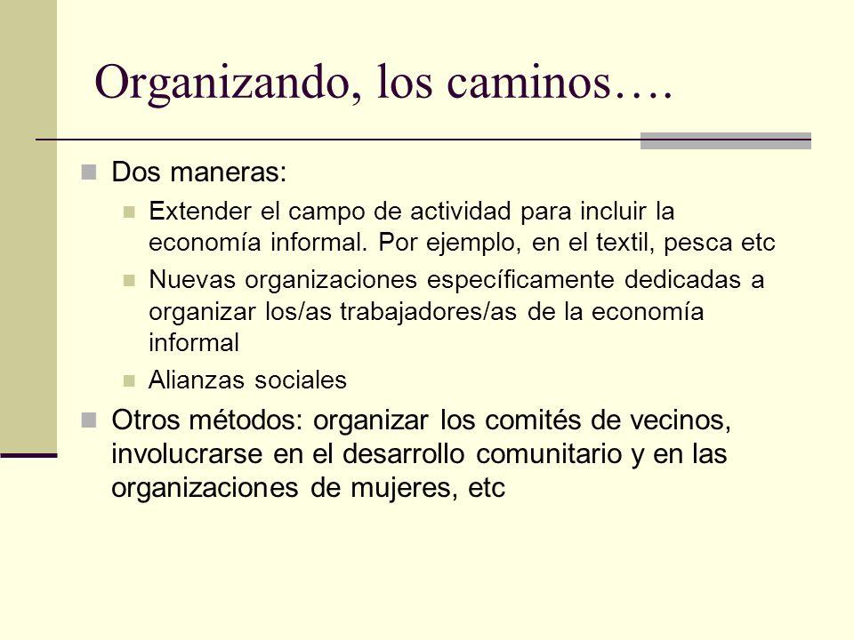 Organizando, los caminos…. Dos maneras: Extender el campo de actividad para incluir la economía informal. Por ejemplo, en el textil, pesca etc Nuevas