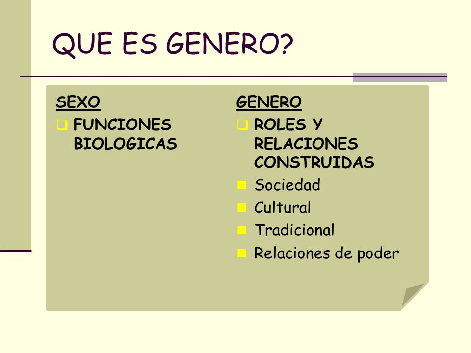 QUE ES GENERO? SEXO FUNCIONES BIOLOGICAS GENERO ROLES Y RELACIONES CONSTRUIDAS Sociedad Cultural Tradicional Relaciones de poder