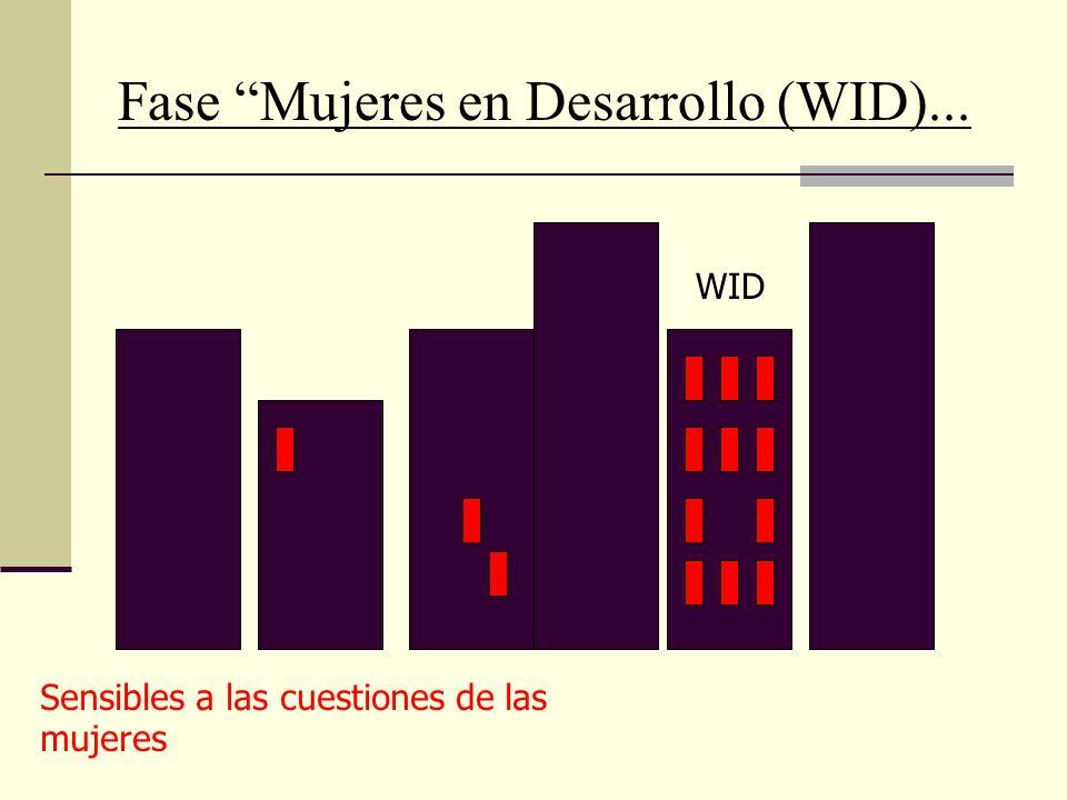 Fase Mujeres en Desarrollo (WID)... In projects and activities WID Sensibles a las cuestiones de las mujeres