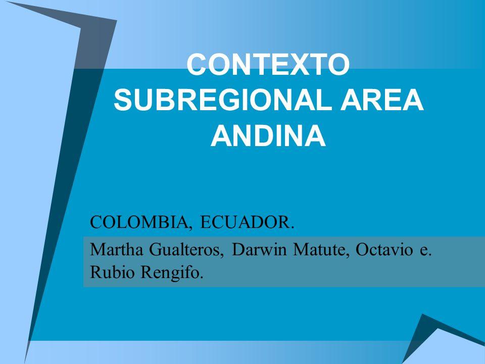 CONTEXTO SUBREGIONAL AREA ANDINA COLOMBIA, ECUADOR.