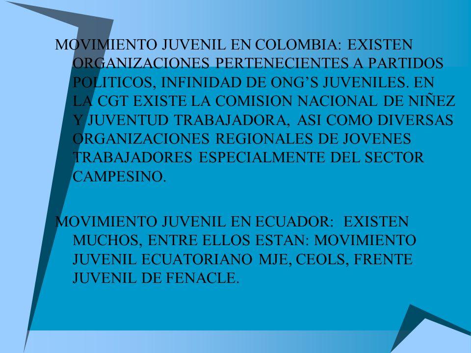 MOVIMIENTO JUVENIL EN COLOMBIA: EXISTEN ORGANIZACIONES PERTENECIENTES A PARTIDOS POLITICOS, INFINIDAD DE ONGS JUVENILES.