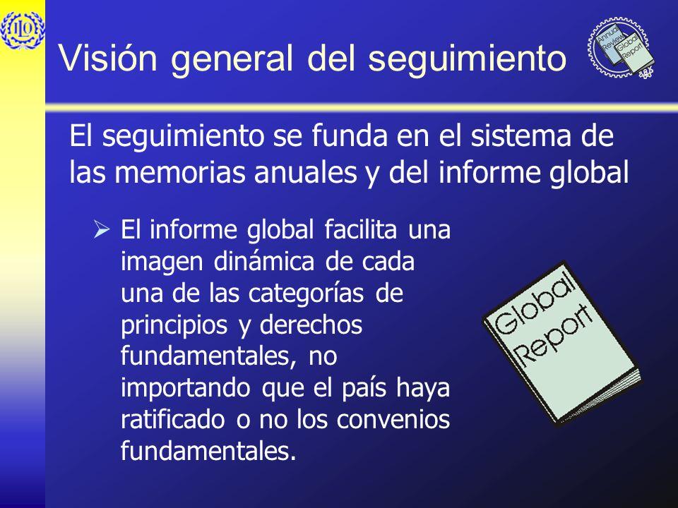 Visión general del seguimiento El informe global facilita una imagen dinámica de cada una de las categorías de principios y derechos fundamentales, no