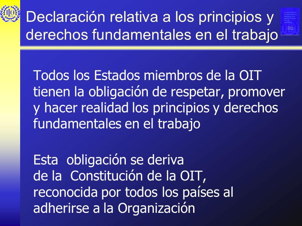Declaración relativa a los principios y derechos fundamentales en el trabajo Todos los Estados miembros de la OIT tienen la obligación de respetar, pr