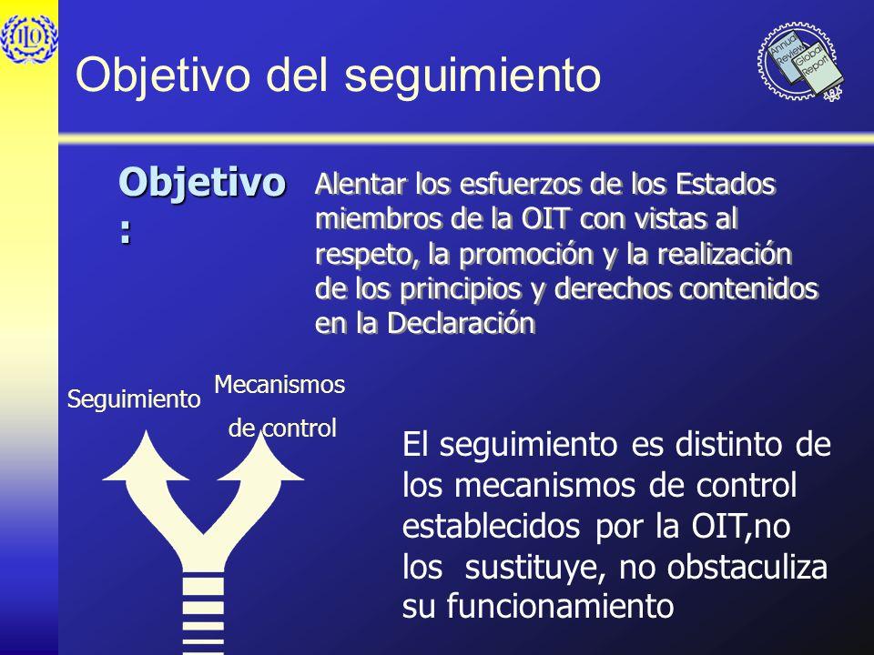 Objetivo del seguimiento Alentar los esfuerzos de los Estados miembros de la OIT con vistas al respeto, la promoción y la realización de los principio
