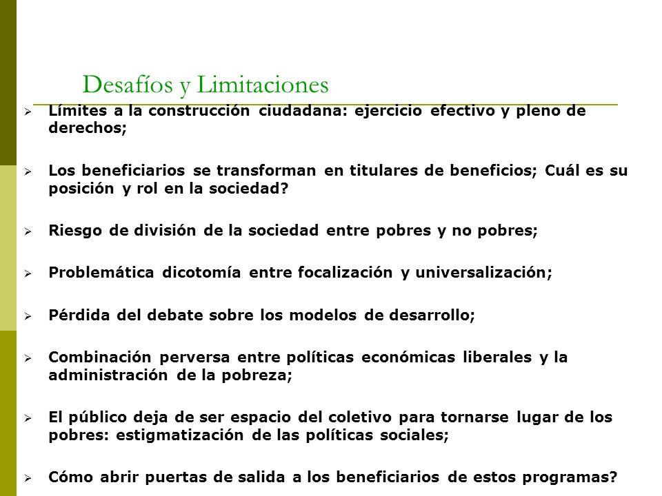 Desafíos y Limitaciones Límites a la construcción ciudadana: ejercicio efectivo y pleno de derechos; Los beneficiarios se transforman en titulares de