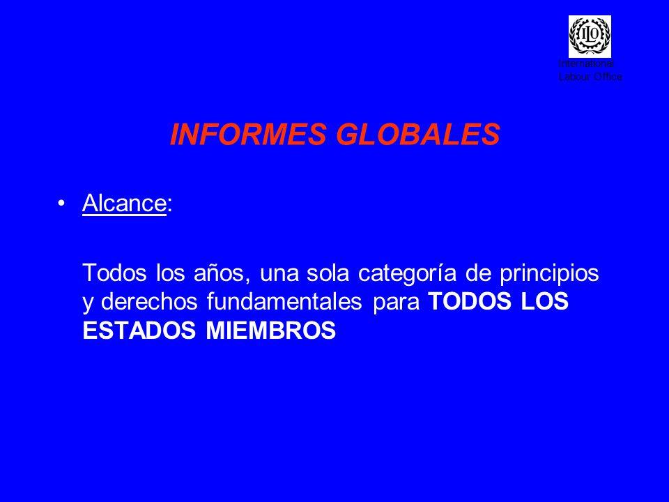 International Labour Office INFORMES GLOBALES Alcance: Todos los años, una sola categoría de principios y derechos fundamentales para TODOS LOS ESTADO
