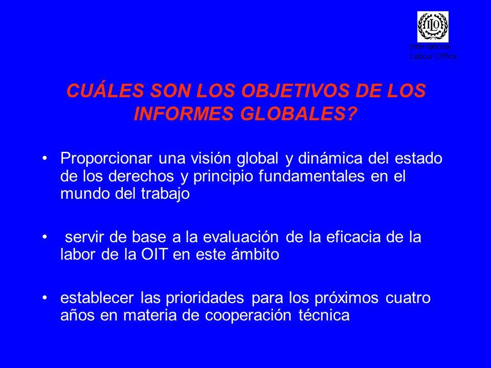 International Labour Office CUÁLES SON LOS OBJETIVOS DE LOS INFORMES GLOBALES? Proporcionar una visión global y dinámica del estado de los derechos y