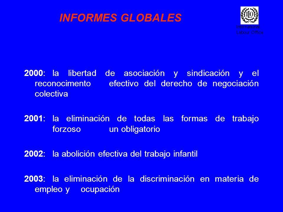 International Labour Office INFORMES GLOBALES 2000:la libertad de asociación y sindicación y el reconocimento efectivo del derecho de negociación cole
