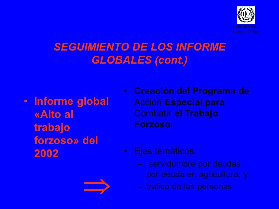 International Labour Office SEGUIMIENTO DE LOS INFORME GLOBALES (cont.) Informe global «Alto al trabajo forzoso» del 2002 Creación del Programa de Acc