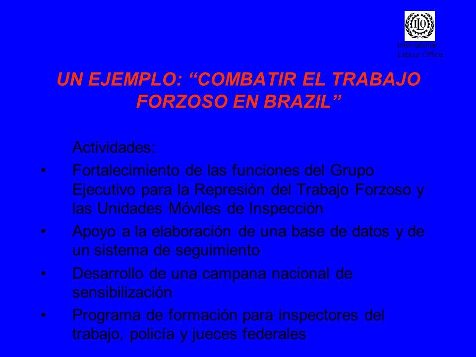 International Labour Office UN EJEMPLO: COMBATIR EL TRABAJO FORZOSO EN BRAZIL Actividades: Fortalecimiento de las funciones del Grupo Ejecutivo para l