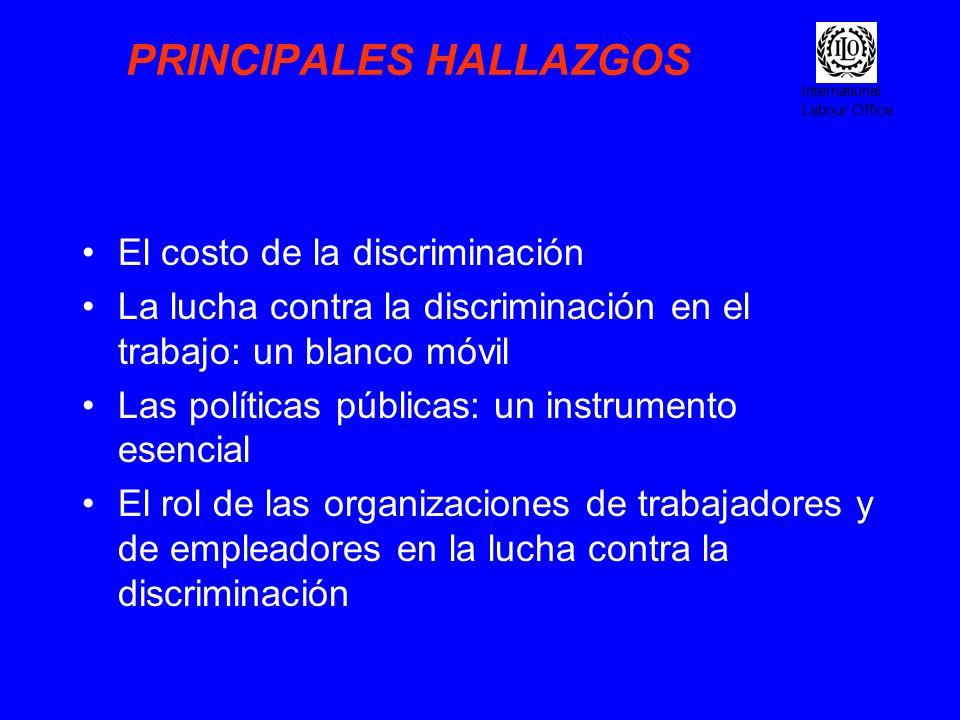 International Labour Office PRINCIPALES HALLAZGOS El costo de la discriminación La lucha contra la discriminación en el trabajo: un blanco móvil Las p