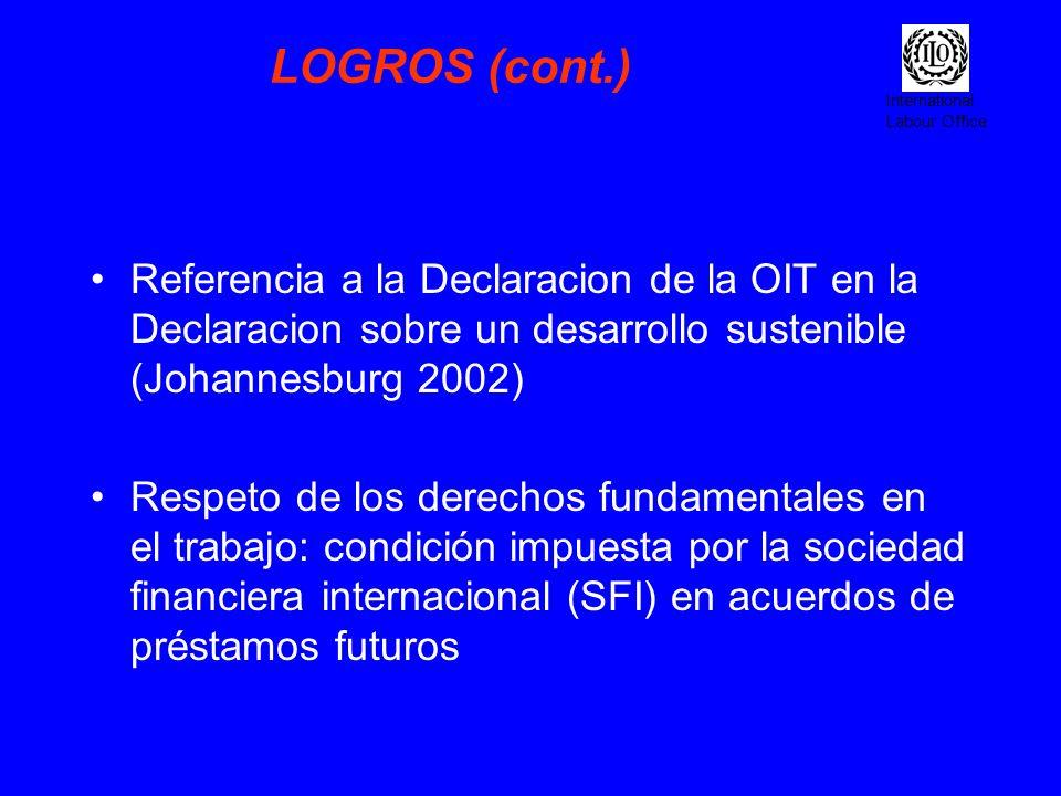 International Labour Office LOGROS (cont.) Referencia a la Declaracion de la OIT en la Declaracion sobre un desarrollo sustenible (Johannesburg 2002)