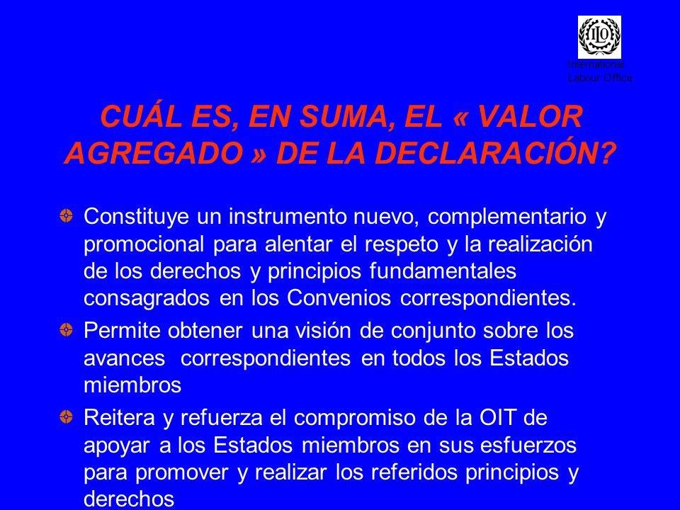 International Labour Office CUÁL ES, EN SUMA, EL « VALOR AGREGADO » DE LA DECLARACIÓN? Constituye un instrumento nuevo, complementario y promocional p