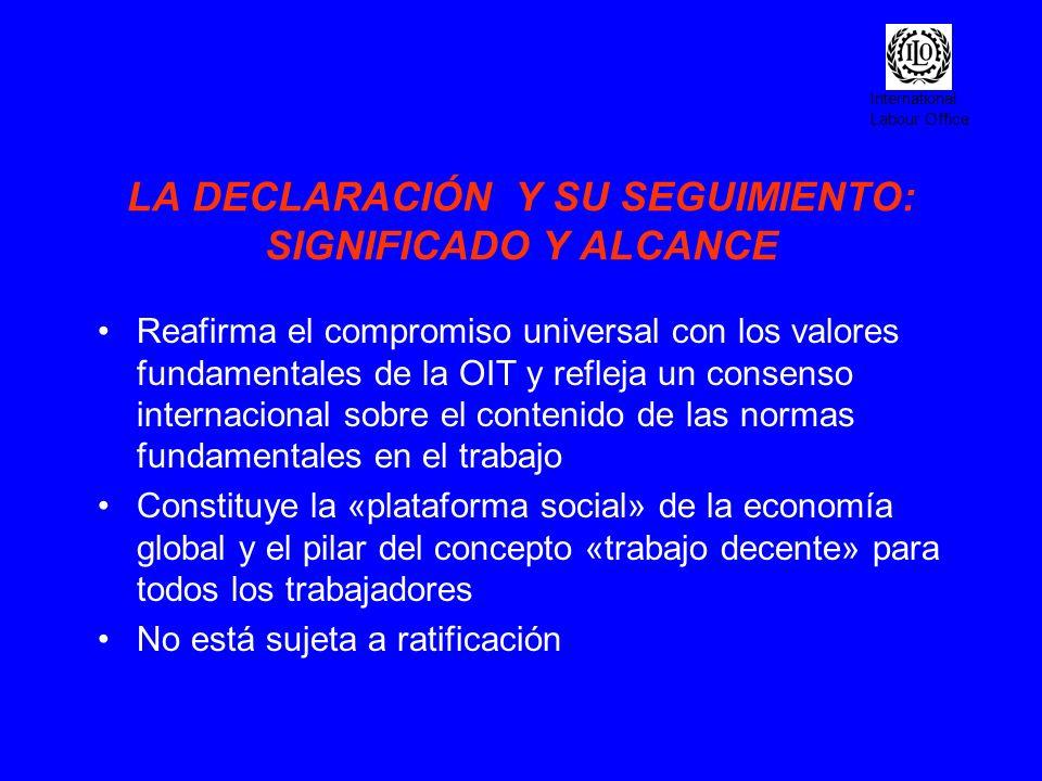 International Labour Office LOGROS (cont.) Los principios y derechos en el trabajo forman parte del Pacto Global entre el sistema de Naciones Unidas y la comunidad empresarial en el mundo Inclusión de los derechos fundamentales en el trabajo en los procesos de integración regional económica Inclusión de los derechos fundamentales en el trabajo en las directrices de la OECD para las multinacionales