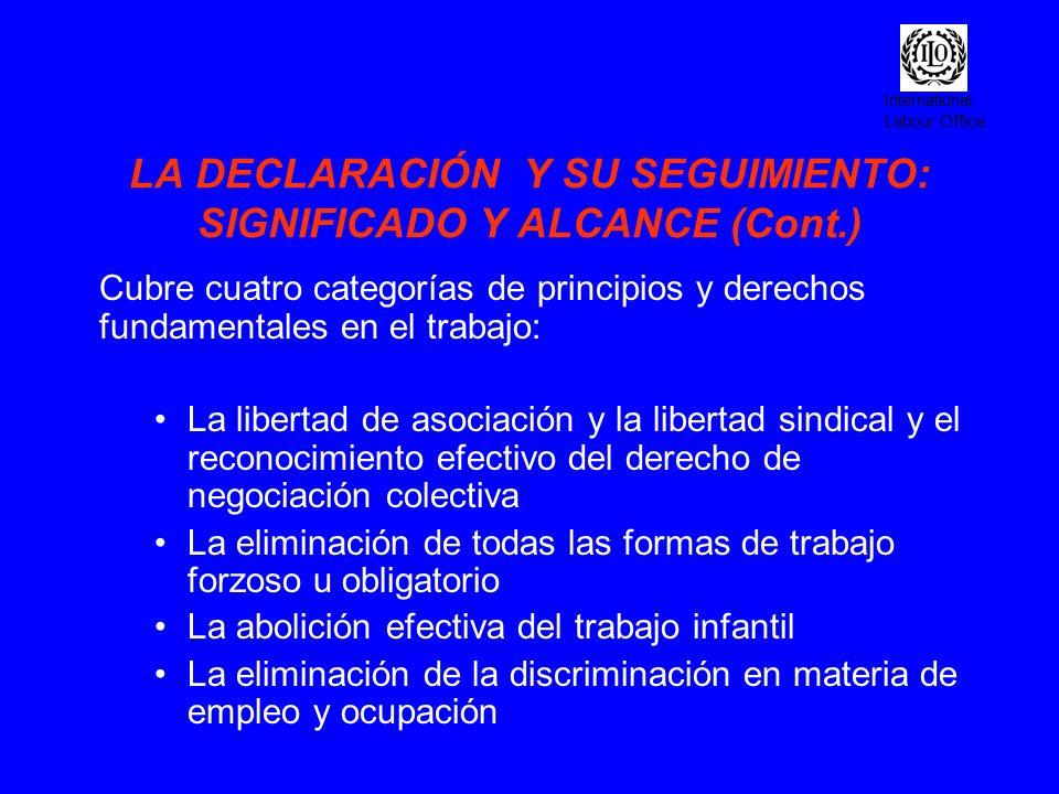 International Labour Office LOGROS (cont.) Referencia a la Declaracion de la OIT en la Declaracion sobre un desarrollo sustenible (Johannesburg 2002) Respeto de los derechos fundamentales en el trabajo: condición impuesta por la sociedad financiera internacional (SFI) en acuerdos de préstamos futuros