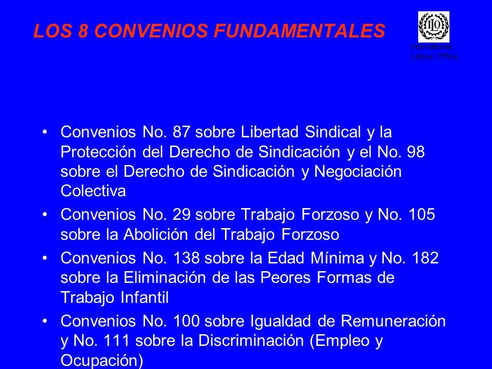 International Labour Office LOS 8 CONVENIOS FUNDAMENTALES Convenios No. 87 sobre Libertad Sindical y la Protección del Derecho de Sindicación y el No.