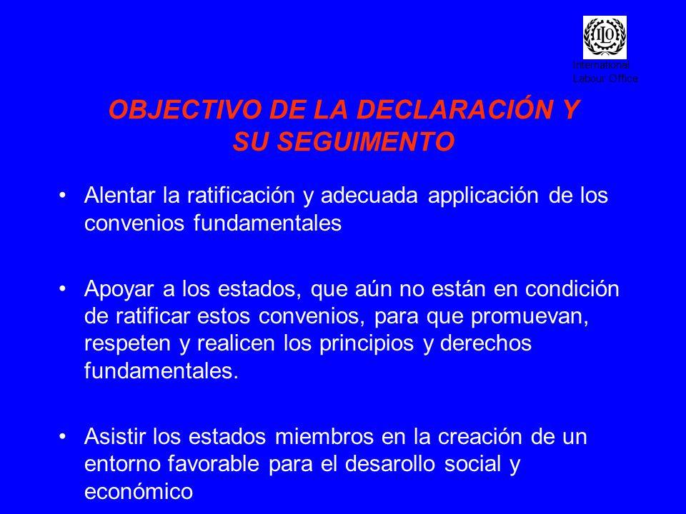 International Labour Office OBJECTIVO DE LA DECLARACIÓN Y SU SEGUIMENTO Alentar la ratificación y adecuada applicación de los convenios fundamentales