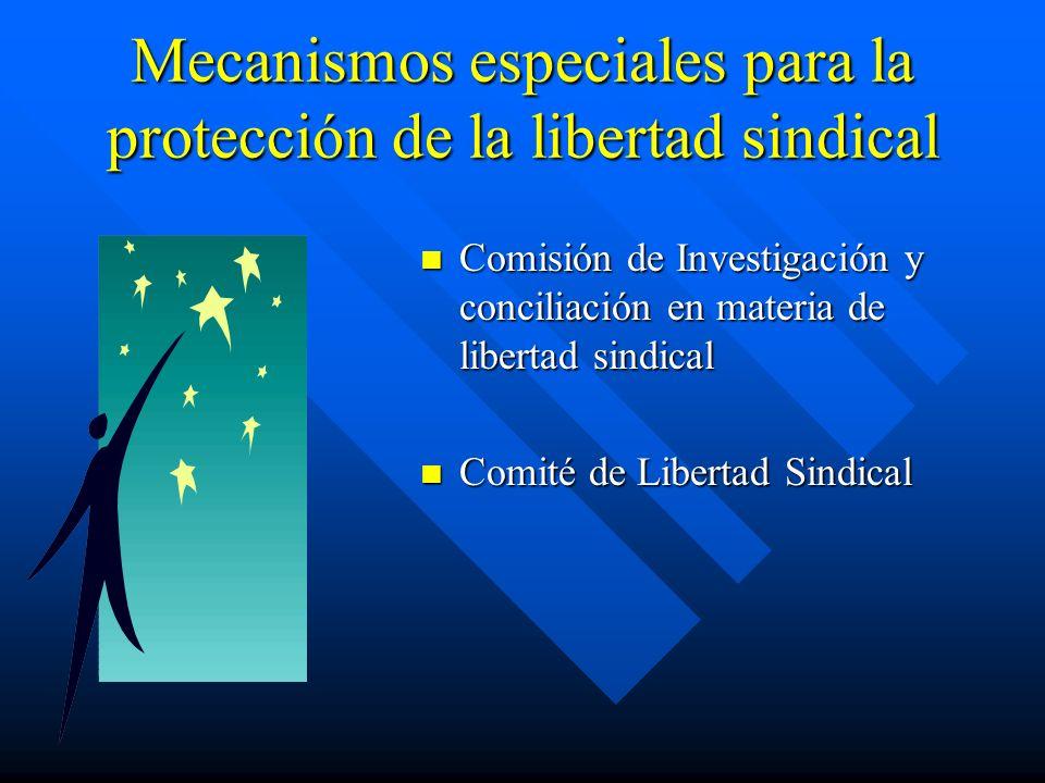 Mecanismos especiales para la protección de la libertad sindical Comisión de Investigación y conciliación en materia de libertad sindical Comité de Li