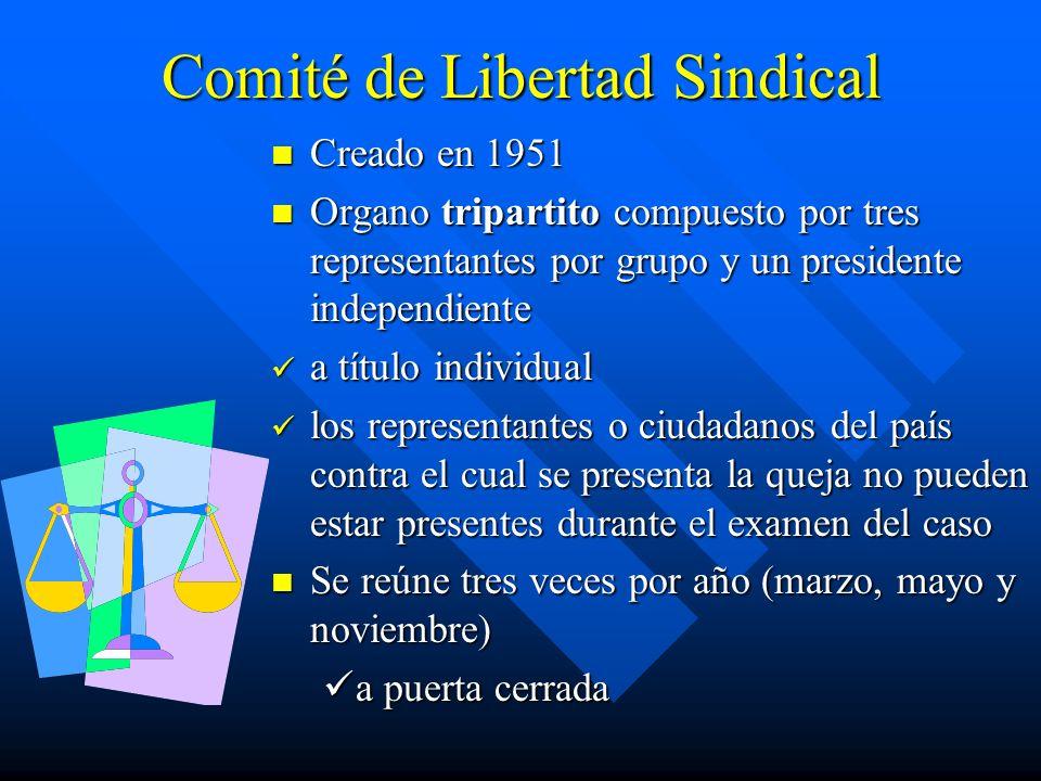 Comité de Libertad Sindical Creado en 1951 Organo tripartito compuesto por tres representantes por grupo y un presidente independiente a título indivi
