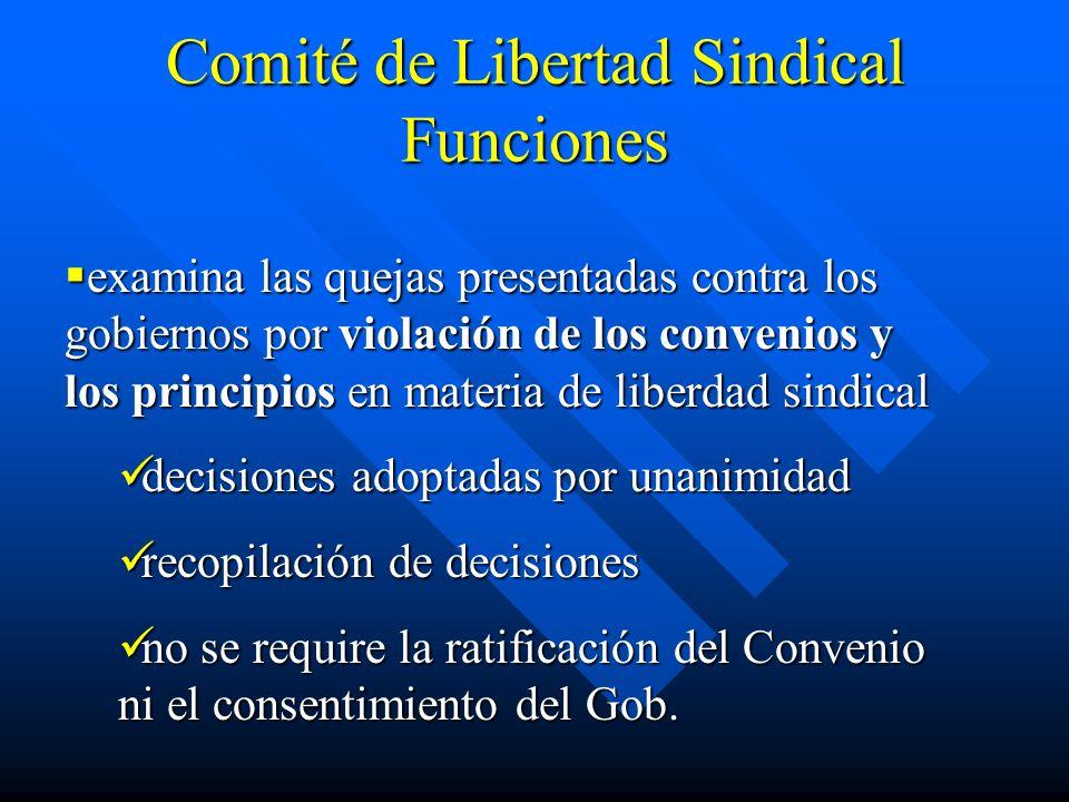Comité de Libertad Sindical Funciones examina las quejas presentadas contra los gobiernos por violación de los convenios y los principios en materia d
