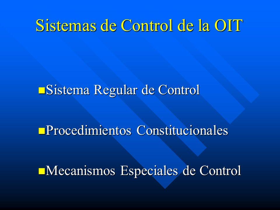 Sistemas de Control de la OIT Sistema Regular de Control Sistema Regular de Control Procedimientos Constitucionales Procedimientos Constitucionales Me