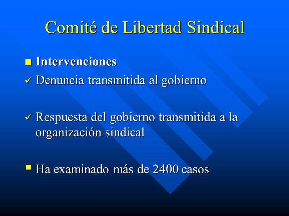 Comité de Libertad Sindical Intervenciones Intervenciones Denuncia transmitida al gobierno Denuncia transmitida al gobierno Respuesta del gobierno tra