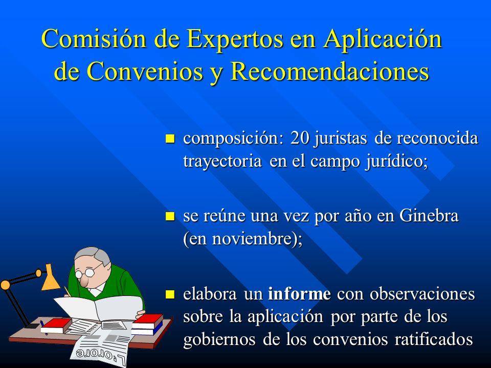 Comisión de Expertos en Aplicación de Convenios y Recomendaciones composición: 20 juristas de reconocida trayectoria en el campo jurídico; se reúne un
