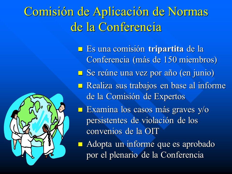 Comisión de Aplicación de Normas de la Conferencia Es una comisión tripartita de la Conferencia (más de 150 miembros) Se reúne una vez por año (en jun