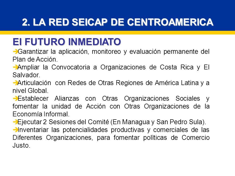 2. LA RED SEICAP DE CENTROAMERICA El FUTURO INMEDIATO Garantizar la aplicación, monitoreo y evaluación permanente del Plan de Acción. Ampliar la Convo