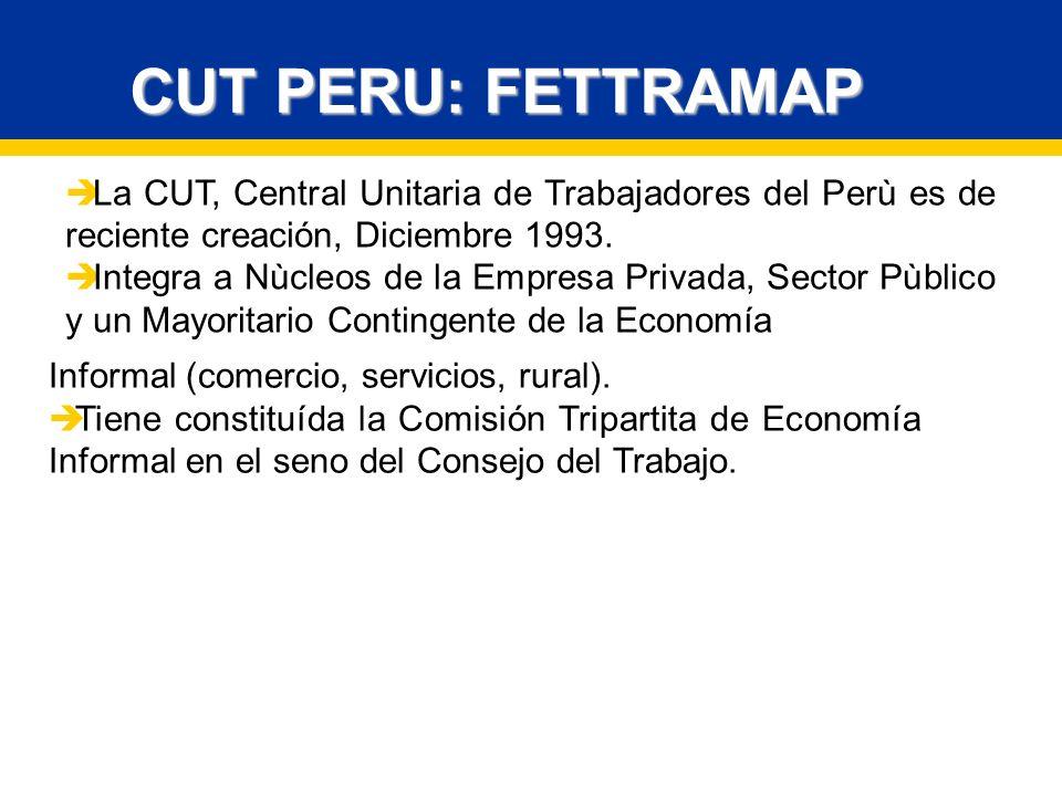 La CUT, Central Unitaria de Trabajadores del Perù es de reciente creación, Diciembre 1993.