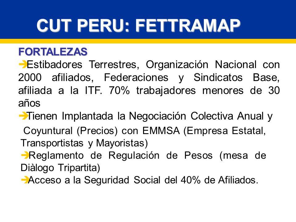 FORTALEZAS Estibadores Terrestres, Organización Nacional con 2000 afiliados, Federaciones y Sindicatos Base, afiliada a la ITF.
