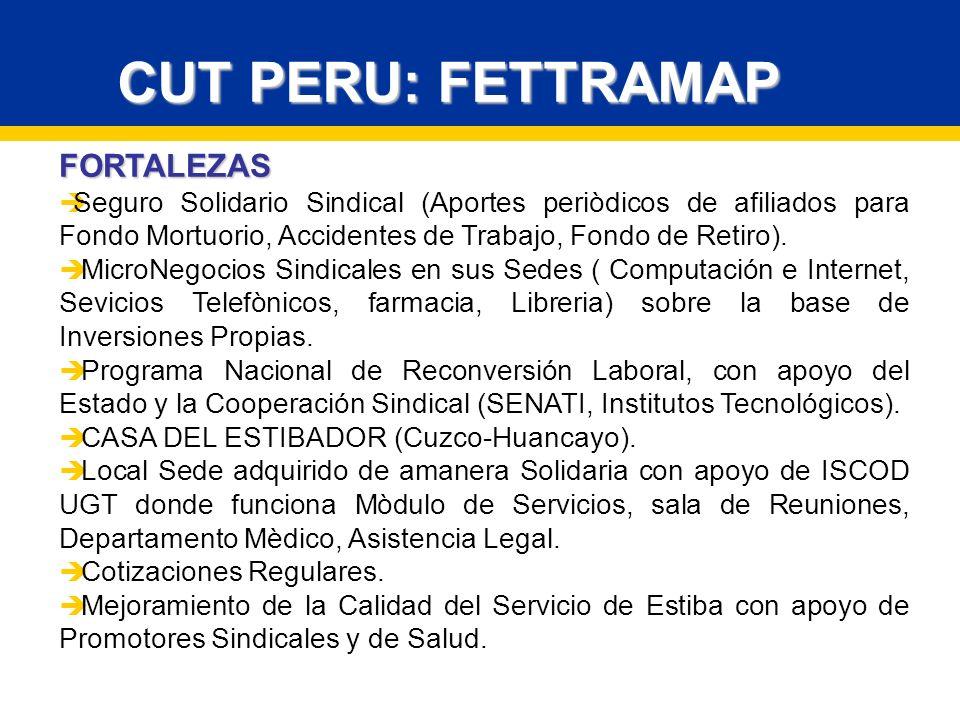 FORTALEZAS Seguro Solidario Sindical (Aportes periòdicos de afiliados para Fondo Mortuorio, Accidentes de Trabajo, Fondo de Retiro).
