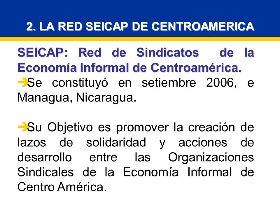 SEICAP: Red de Sindicatos de la Economía Informal de Centroamérica.