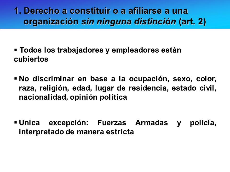 1. Derecho a constituir o a afiliarse a una organización sin ninguna distinción (art. 2) Todos los trabajadores y empleadores están cubiertos No discr