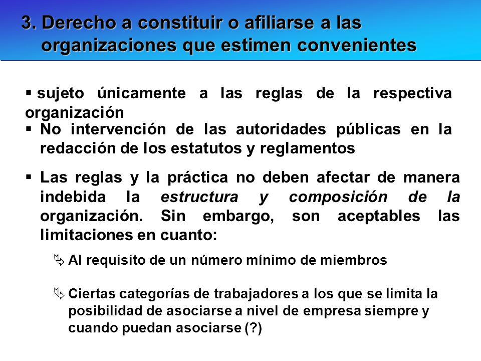 3. Derecho a constituir o afiliarse a las organizaciones que estimen convenientes sujeto únicamente a las reglas de la respectiva organización No inte