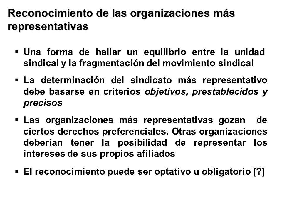 Reconocimiento de las organizaciones más representativas Una forma de hallar un equilibrio entre la unidad sindical y la fragmentación del movimiento