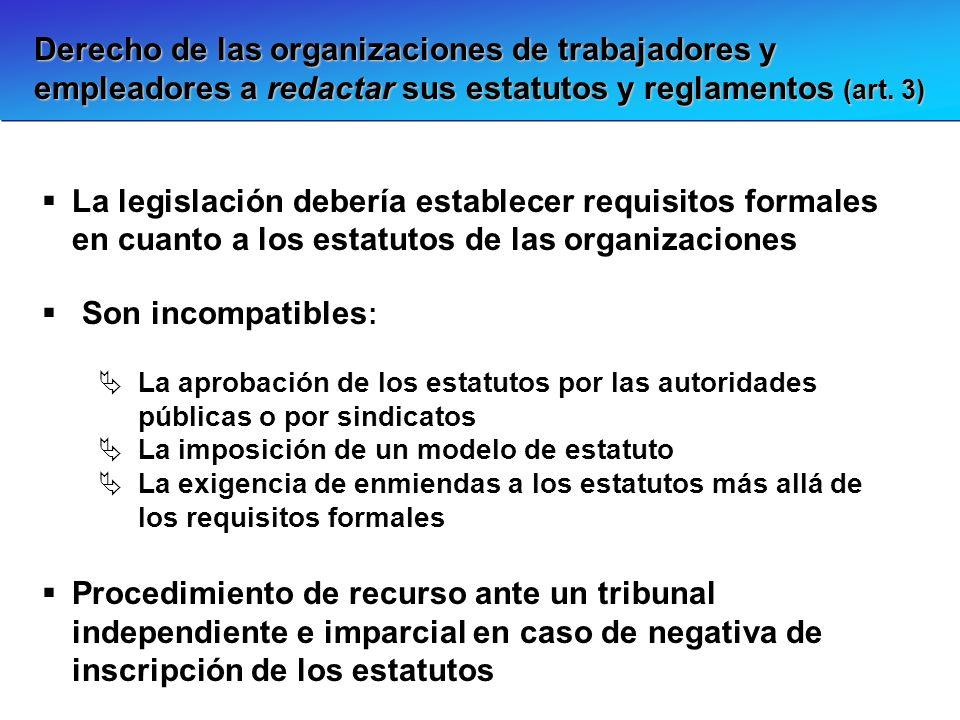Derecho de las organizaciones de trabajadores y empleadores a redactar sus estatutos y reglamentos (art. 3) La legislación debería establecer requisit