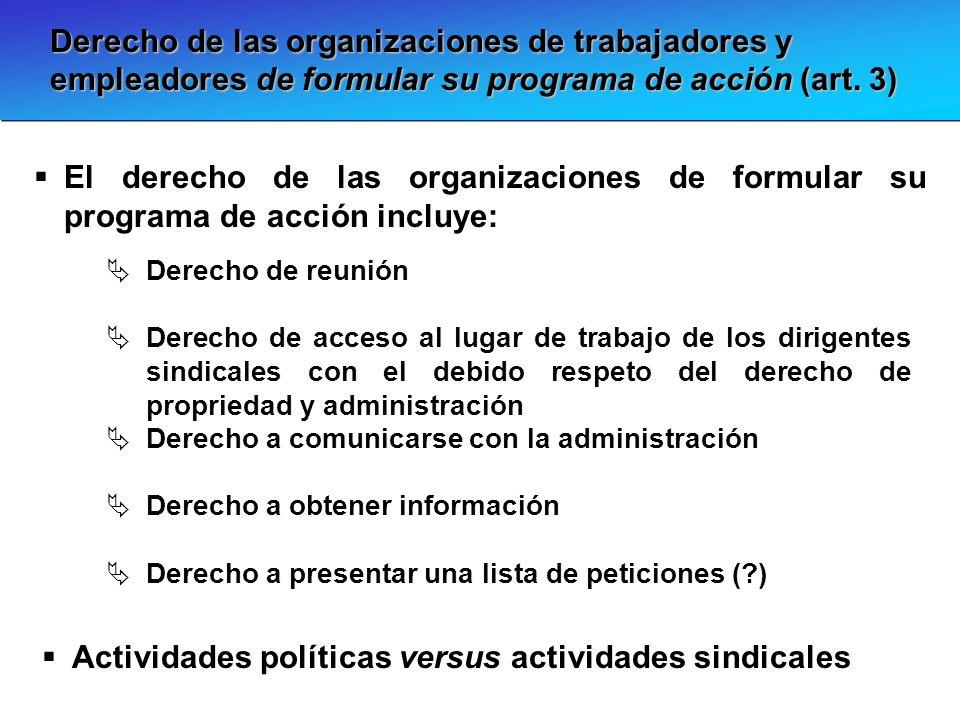 Derecho de las organizaciones de trabajadores y empleadores de formular su programa de acción (art. 3) El derecho de las organizaciones de formular su