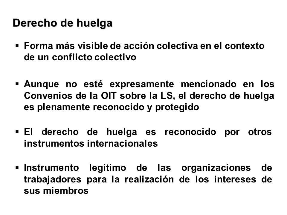 Forma más visible de acción colectiva en el contexto de un conflicto colectivo Derecho de huelga Aunque no esté expresamente mencionado en los Conveni