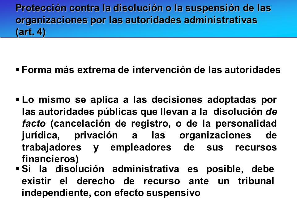 Protección contra la disolución o la suspensión de las organizaciones por las autoridades administrativas (art. 4) Forma más extrema de intervención d