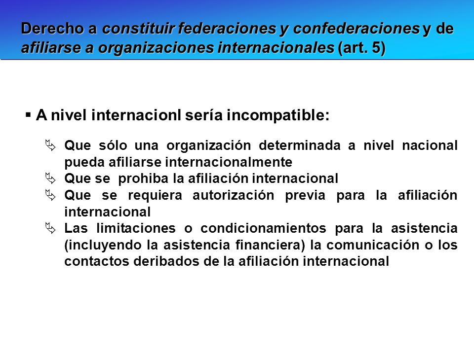 Derecho a constituir federaciones y confederaciones y de afiliarse a organizaciones internacionales (art. 5) A nivel internacionl sería incompatible: