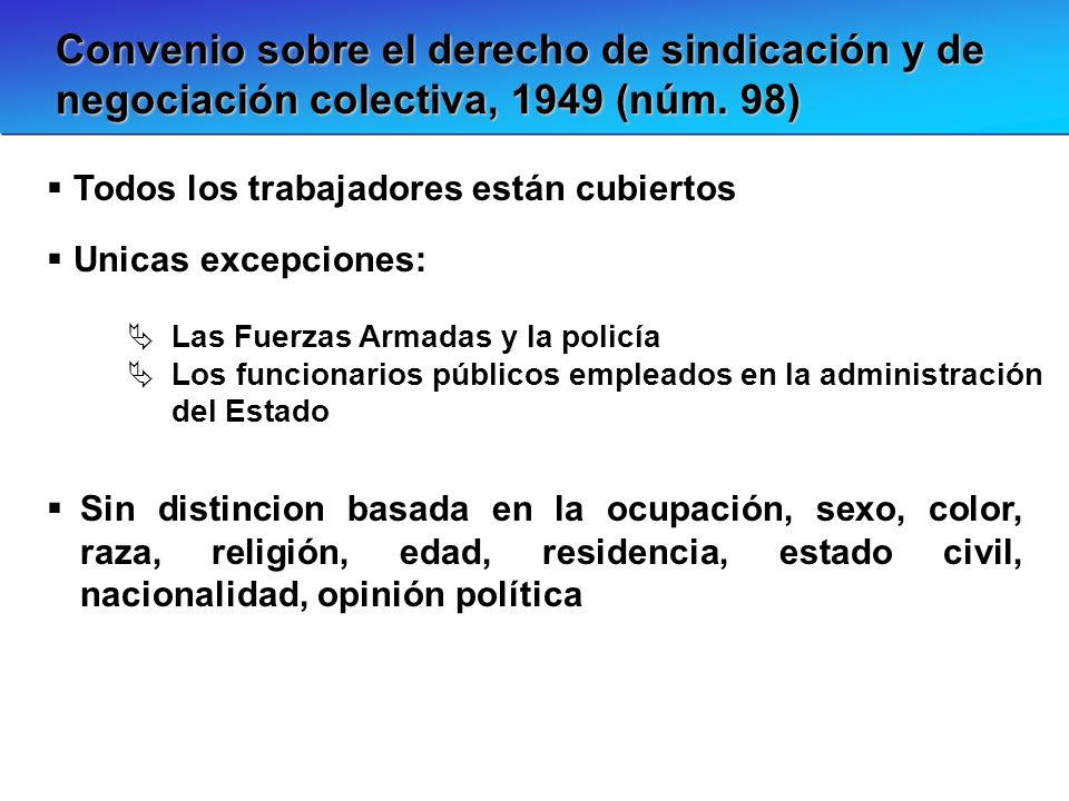 Convenio sobre el derecho de sindicación y de negociación colectiva, 1949 (núm. 98) Las Fuerzas Armadas y la policía Los funcionarios públicos emplead
