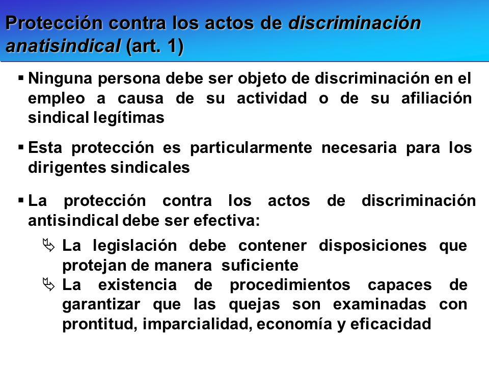 Protección contra los actos de discriminación anatisindical (art. 1) Ninguna persona debe ser objeto de discriminación en el empleo a causa de su acti